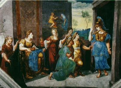 Минерве поклоняются лидийские женщины, но не Арахна. Иллюстрация Германа Постгумуса к Метаморфозам Овидиия